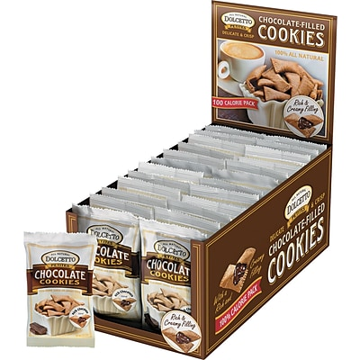 Dolcetto Chocolate-Filled Cookies, Chocolate, Cookies, 0.7 oz (OFX-00679)