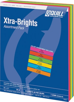 Quill Brand® Brights 20-lb. Color Paper; Assorted Colors, 210 Sheets/Pack