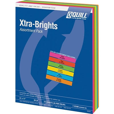 Quill Brand® Brights Multipurpose Paper, 20 lbs., 8.5 x 11, Assorted Colors, 210 Sheets/Pack (722500)