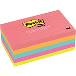 Post-it® Notes, 3 x 5, Cape Town Collection, Lined, 5 Pads/Pack