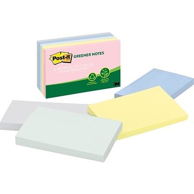 Post-it® Recycled Notes, 3 x 5, Helsinki Collection, 5 Pads/Pack (655RPA)