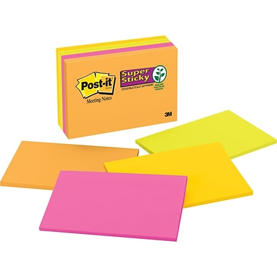Post-it® Super Sticky Meeting Notes, 6 x 4, Rio De Janeiro Collection, 8 Pads/Pack (6445SSP)
