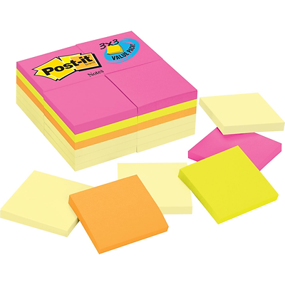 Post-it® Notes, 3 x 3, Canary Yellow, Cape Town Collection, 24 Pads/Pack (654CYP24VA)