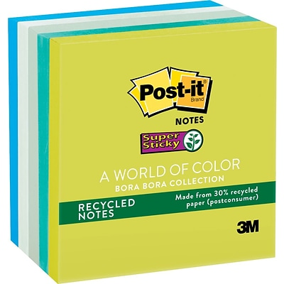 Post-it® Recycled Super Sticky Notes, 3 x 3, Bora Bora Collection, 5 Pads/Pack (654-5SST)