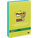 Post-it® Recycled Super Sticky Notes, 4 x 6, Bora Bora Collection, Lined, 3 Pads/Pack