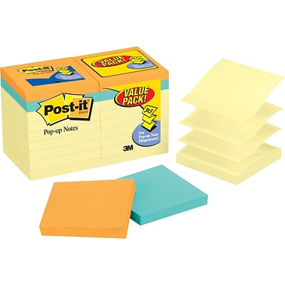 Post-it® Pop-Up Notes Bonus Value Pack, 3 x 3, Canary Yellow, Cape Town Collection, 18 Pads/Pack (R330144B)