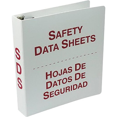 Accuform Signs® SDS 3-Ring Bilingual Binder, Red/White, 2.5 (Ring Diameter)