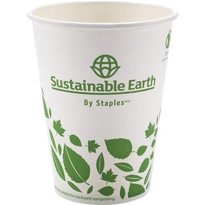 Sustainable Earth Compostable Hot Cups, 12 oz., 50/Pack