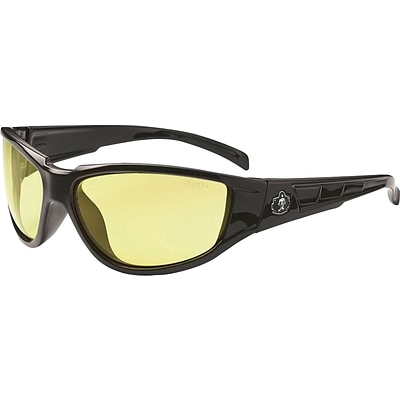 Ergodyne Skullerz® Njord Safety Glasses, Black/Yellow, Anti-Scratch