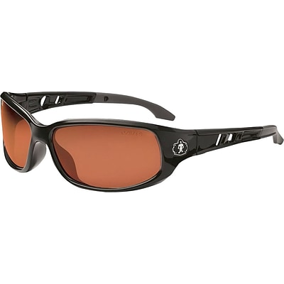 Ergodyne Skullerz® Valkyrie-PZ Safety Glasses, Black/Polarized Copper, Anti-Scratch/Fog
