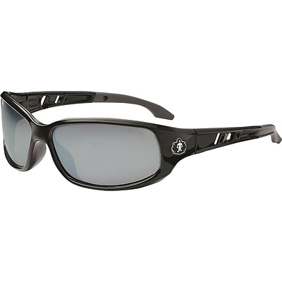 Ergodyne Skullerz® Valkyrie Safety Glasses, Black/Silver Mirror, Anti-Scratch/Fog
