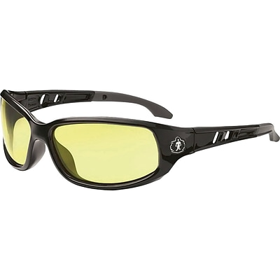 Ergodyne Skullerz® Valkyrie Safety Glasses, Black/Yellow, Anti-Scratch/Fog