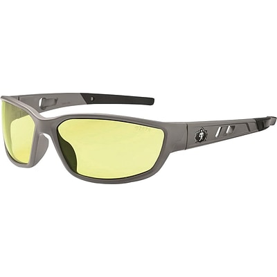 Ergodyne Skullerz® Kvasir Safety Glasses, Matte Gray/Yellow, Anti-Scratch