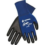 MCR SAFETY® Ninja® Lite Polyurethane Coated Palm and Fingertip Dipped Gloves, Blue, Medium, 12/Pair