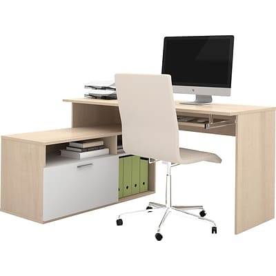 Bestar® Modula Collections in Northern Maple and White; L-Desk