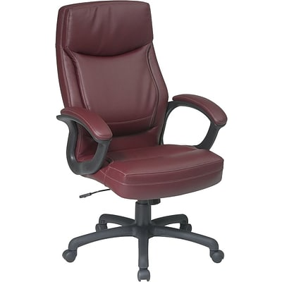 Office Star® Executive Eco Leather High-Back Chair, Burgundy