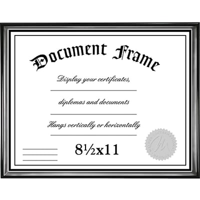 Malden Home Profiles Wood Document Frame, Black/Silver, 8.5 x 11