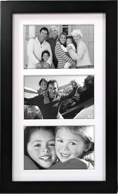 "Malden Classic Linear 3-Opening Wood Collage Picture Frame, Black, 4"" x 6"""