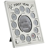 Malden 13-Opening Babys 1st Year Metal Collage Picture Frame, Silver, 4 x 6