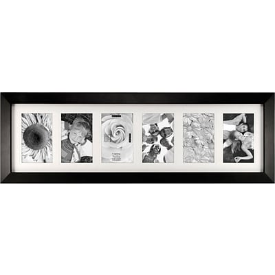 Malden Berkeley 6-Opening Wood Picture Frame, Black, 4 x 6