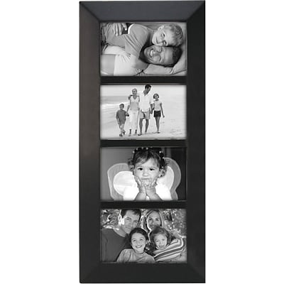 Malden Berkeley 4-Opening Beveled Edge Wood Collage Picture Frame, Black, 4 x 6