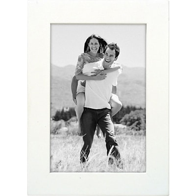 Malden Classic Linear Wood Picture Frame, White, 4 x 6