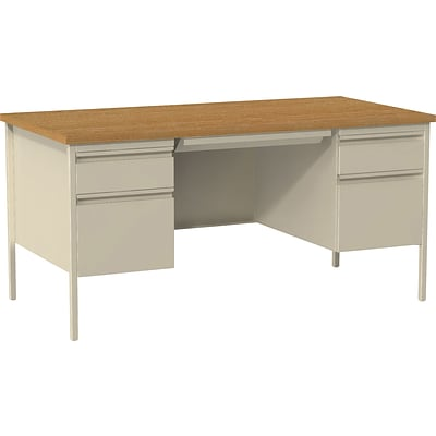 Quill Brand® 60W Oak Laminate Fortress Series Desk with Double Pedestal