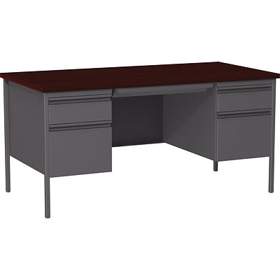 Quill Brand® 60W Mahogany Laminate Fortress Series Desk with Double Pedestal
