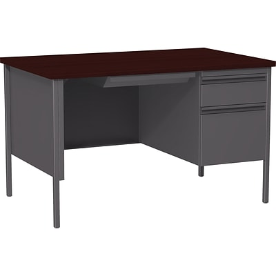 Quill Brand® 48W Mahogany Laminate Fortress Series Desk with Single Pedestal