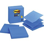 Post-it® Super Sticky Pop-Up Notes, 4 x 4, Periwinkle, Lined, 5 Pads/Pack (R440AQSS)