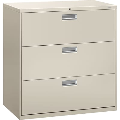 HON® Brigade® 600 Series Lateral Files; 3-Drawer, 42 Wide, Light Grey