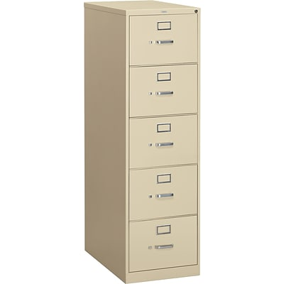 HON® 310 Series Vertical Files; 5-Drawer, Legal Size, Putty