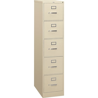 HON® 310 Series Letter Width Vertical File Cabinets, 5-Drawer, Putty, 26.5D