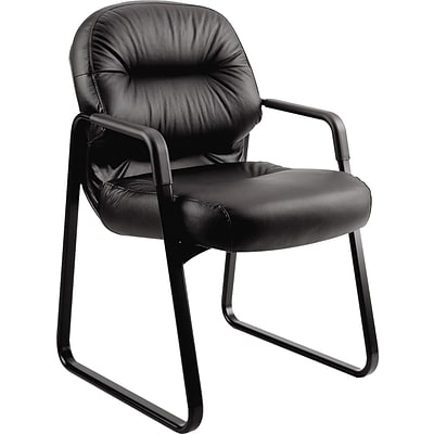 HON Pillow-Soft Guest Chair, Fixed Arms, Black Leather NEXT2018 NEXT2Day