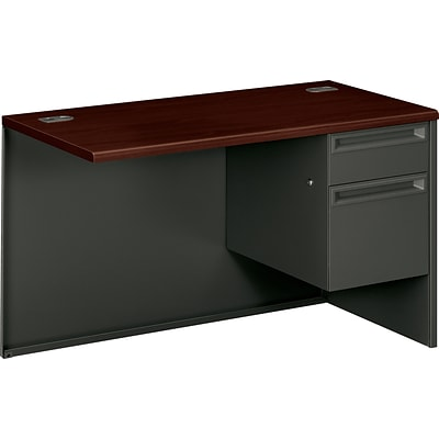 L Workstation Right Return; Mahogany/Charcoal; Order Left Pedestal L Desk