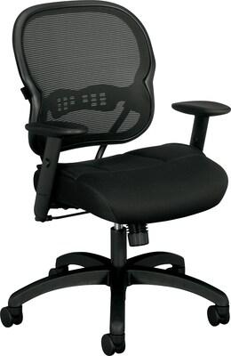 "Basyx By Hon(r) Vl712 Mid Back Task Chair, Mesh, Black, Seat: 19 3/4""w X 18 1/2""d, Back: 20 1/2""w X 20 3/4""h"
