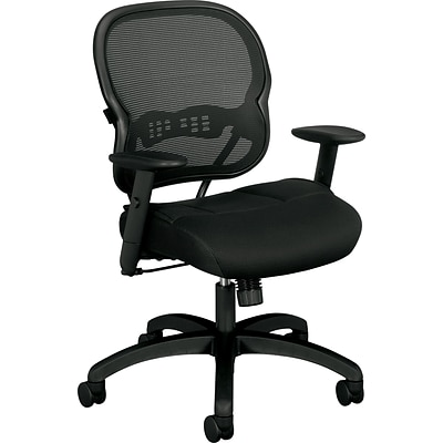 basyx by HON® VL712 Mid-Back Task Chair, Mesh, Black, Seat: 19 3/4W x 18 1/2D, Back: 20 1/2W x 20 3/4H