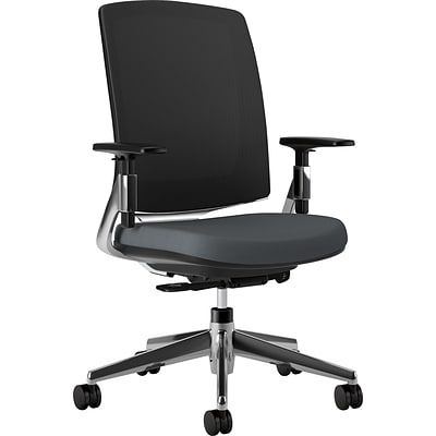 HON® Lota™ Series Task Chairs; Charcoal Seat, Polished Aluminum