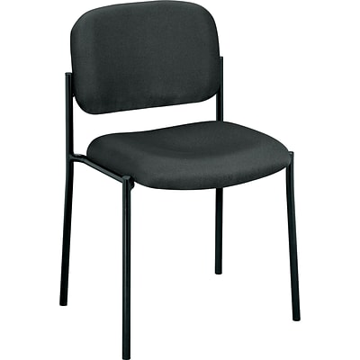 basyx by HON® VL606 Stacking Armless Guest Chair, Fabric, Charcoal, Seat: 19W x 17 1/2D, Back: 18 1/2W x 14 3/4H