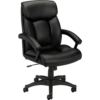 basyx by HON® VL151 Executive High-Back Chair, Black SofThread™ Leather