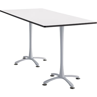 Cha Cha Standing Table 84 x 36 Designer White Rectangular Top Silver Base