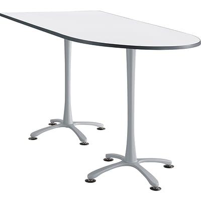 Cha Cha Standing Table 72 x 36 Designer White Peninsula Top Silver Base