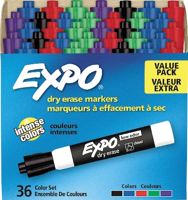 Expo Low Odor Dry-Erase Markers, Chisel Tip, Assorted, 36/Box