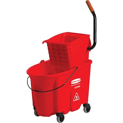 Rubbermaid® WaveBrake® Side Press Mopping Trolley, Combo, Red, 35 qt.