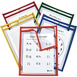 Reusable Dry Erase Pockets, Open On 2 Sides, 9 x 12, Asst. Primary Colors, 25/Pk