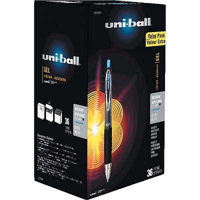 uni-ball Signo Gel 207 Roller Ball Retractable Pens, 0.7 mm, Blue Ink, 36/Pack (1921064)