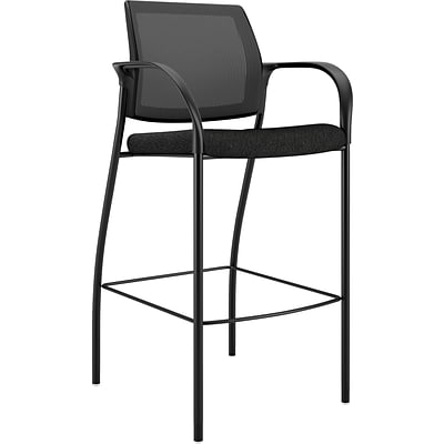 HON Ignition Mesh Back Cafe-Height Stool; Fixed Arms, Black Fabric