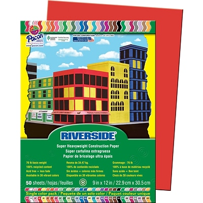 Riverside® Construction Paper, 9 x 12, Holiday Red, 50 Sheets