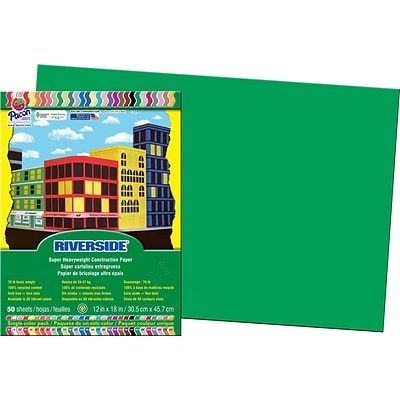 Riverside® Groundwood Construction Paper, 12 x 18, Holiday Green, 50 Sheets
