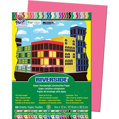 Pacon Riverside Construction Paper 12 x 9, Raspberry, 50 Sheets (03580)